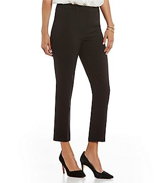 Ellen Tracy Stretch Crepe Ankle-Zip Tapered Slim Trouser