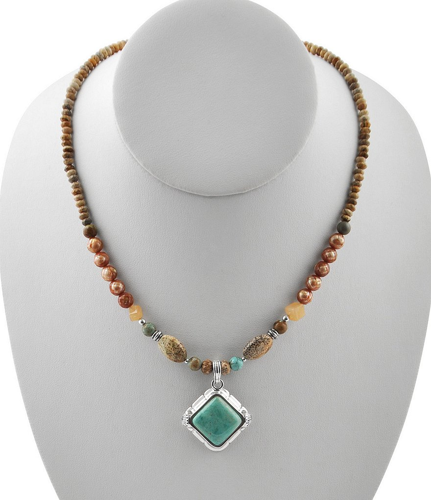 Barse Turquoise, Jasper & Peach Moonstone Pendant Necklace