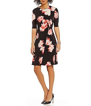 Ellen Tracy Fit-and-Flare Elbow-Sleeve Floral Print Matte Jersey Dress