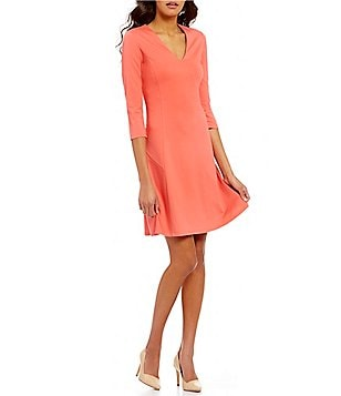 Ellen Tracy V-Neck 3/4 Sleeve Double Knit Seamed A-Line Dress