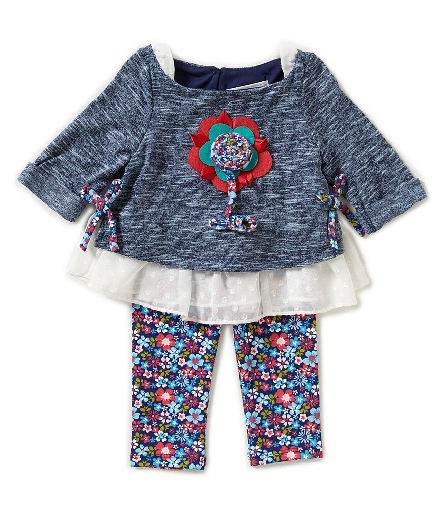 Rare Editions Baby Girls 3-24 Months Popover Two-Fer Tunic & Flower-Print Leggings Set