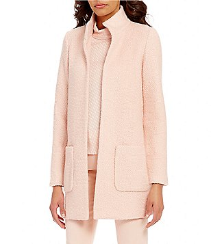 Ellen Tracy Stand Collar Long Sleeve Open Front Solid Boucle Knit Topper Jacket