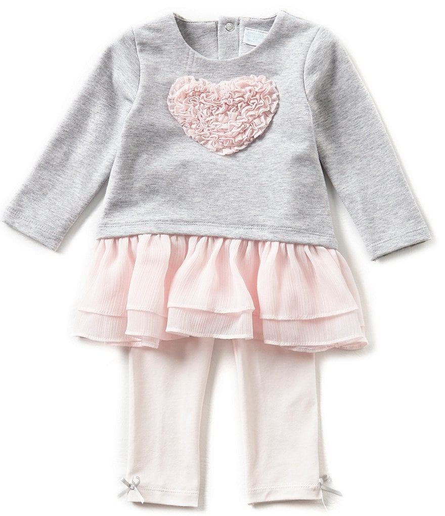 Edgehill Collection Baby Girls 3-24 Months Heart Top and Leggings Set