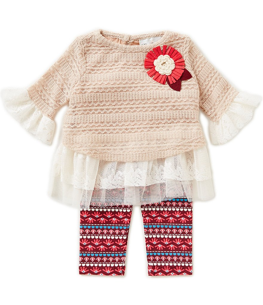 Rare Editions Baby Girls 3-24 Months Crocheted-Lace/Chiffon Top & Printed Leggings Set