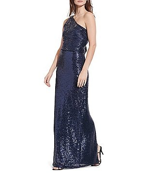 Lauren Ralph Lauren Sequined One-Shoulder Column Gown