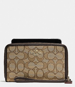 COACH BOXED ZIP AROUND WALLET IN SIGNATURE JACQUARD