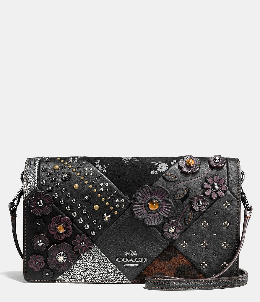 COACH EMBELLISHED CANYON QUILT FOLDOVER CROSSBODY IN GLOVETANNED LEATHER AND HAIRCALF