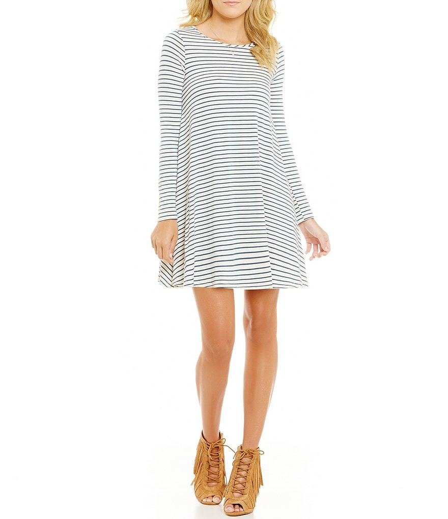 GB Fan Fav Long-Sleeve Striped Swing Dress