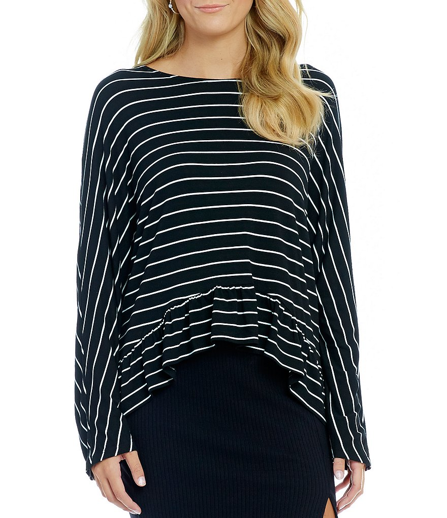 GB Striped Tie-Back Ruffled Sharkbite Hem Top