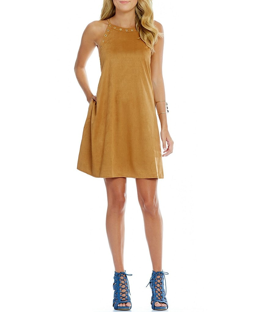 GB Faux Suede Halter Swing Dress
