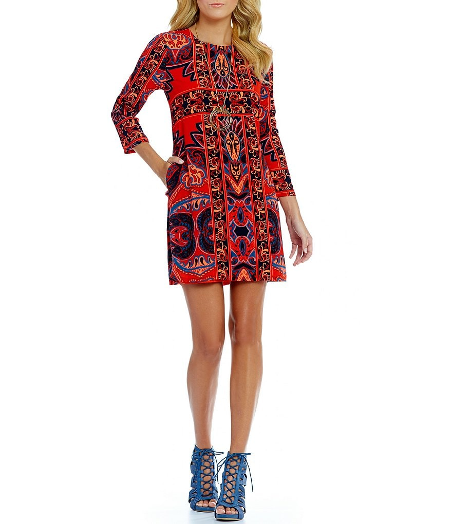 GB 3/4 Sleeve Printed Sheath Dress