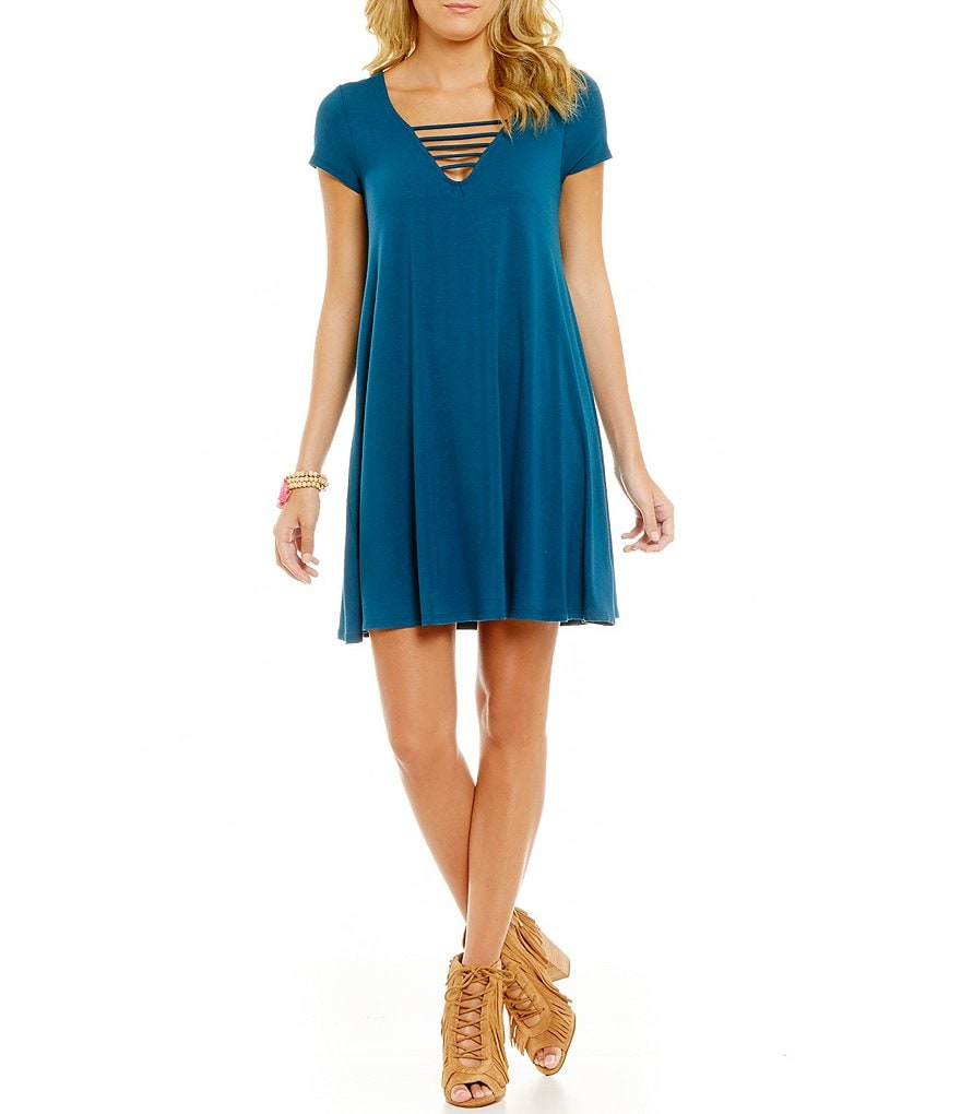 GB Strappy V-Neck Knit Swing Dress