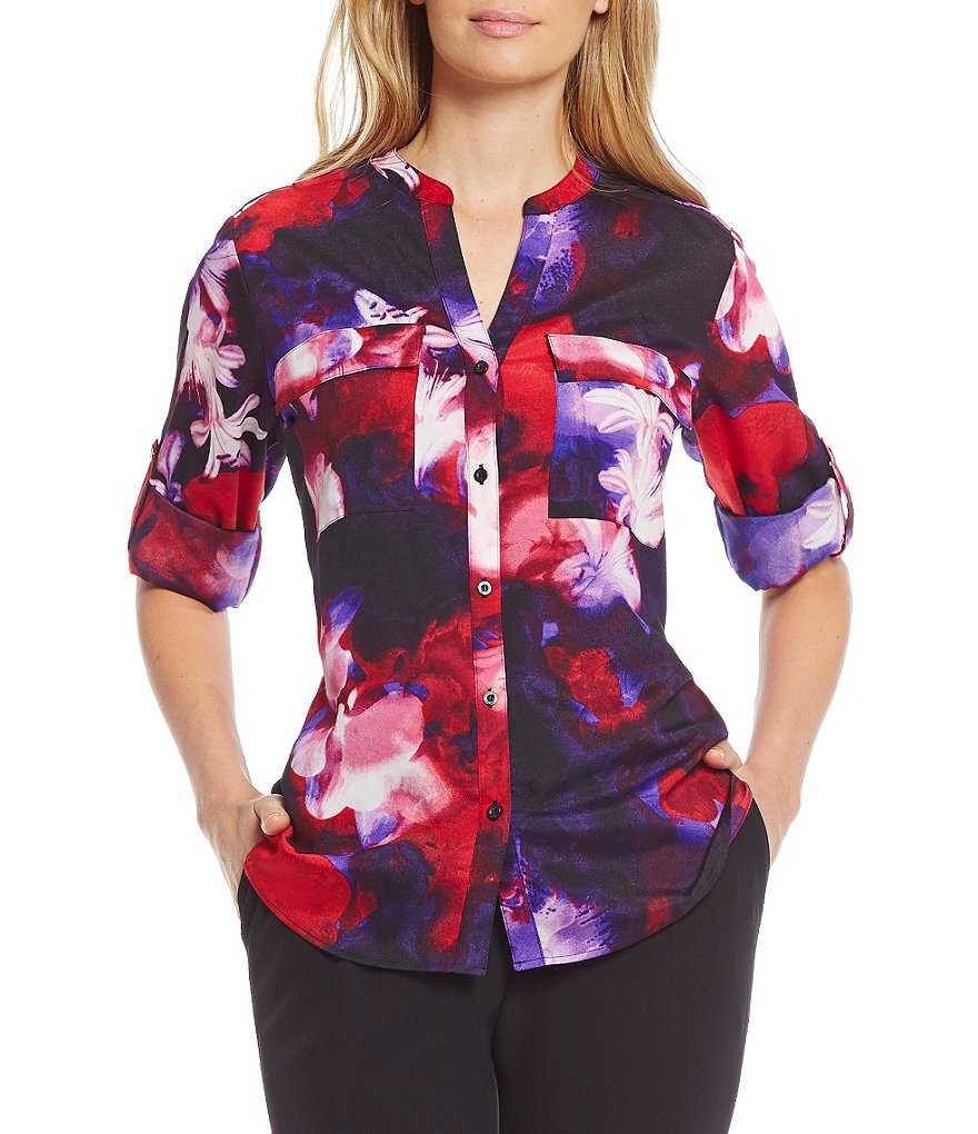 Calvin Klein Roll-Tab Sleeve Printed Crepe de Chine Blouse