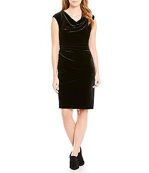 Calvin Klein Velvet Drape Neck Solid Sheath Dress