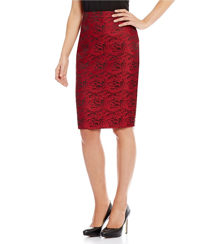 Calvin Klein Metallic Rose Brocade Pencil Skirt