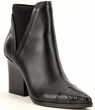 Donald J Pliner Vaughn Leather Snake Trim Block Heel Booties