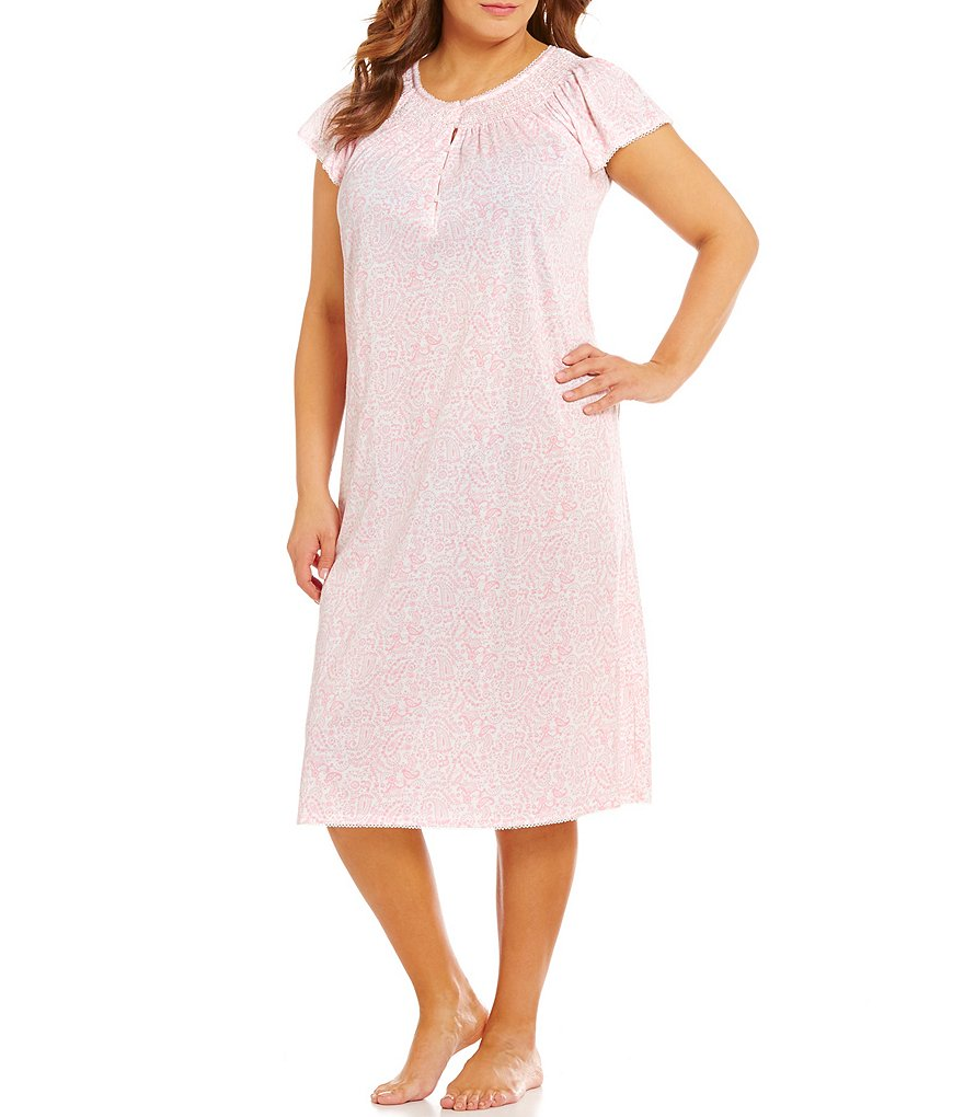 Miss Elaine Plus Paisley Silky-Knit Nightgown