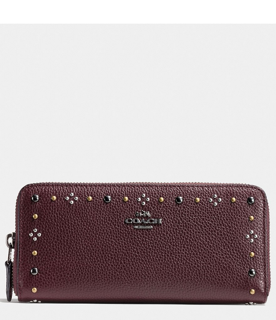 COACH BOXED DAISY RIVETS SLIM ACCORDION WALLET IN PEBBLE LEATHER