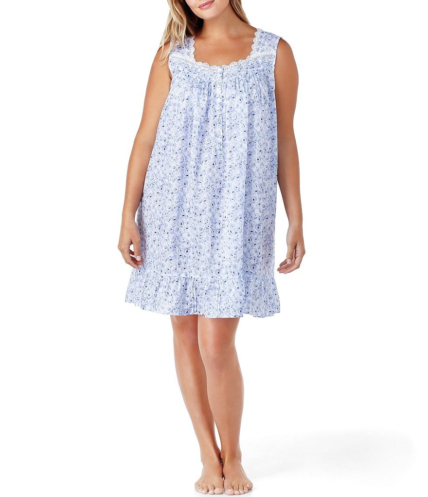Eileen West Plus Rose-Print Nightgown