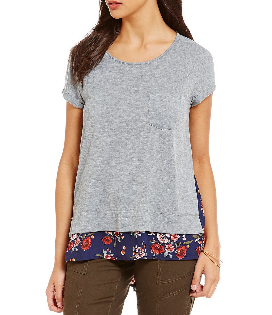 Jolt Floral-Printed Back High-Low Tee