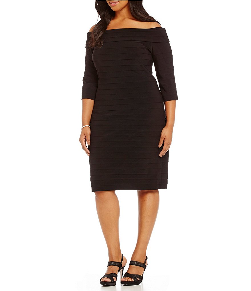Adrianna Papell Plus Off-Shoulder Banded Sheath Dress