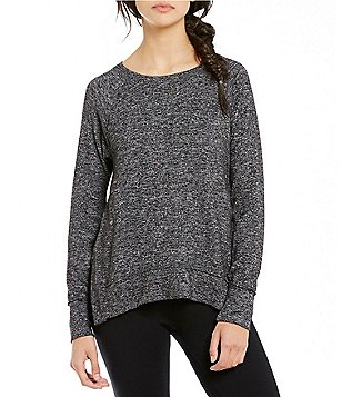 Calvin Klein Performance Marled Haci Knit Jersey Raglan Shoulder Top