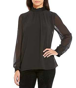 KARL LAGERFELD PARIS Gathered High Neck Blouse