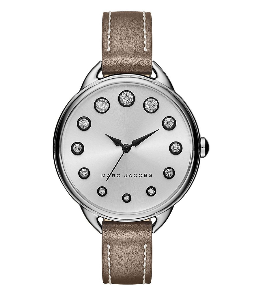 Marc Jacobs Betty Analog Leather-Strap Watch with Crystal Indexes