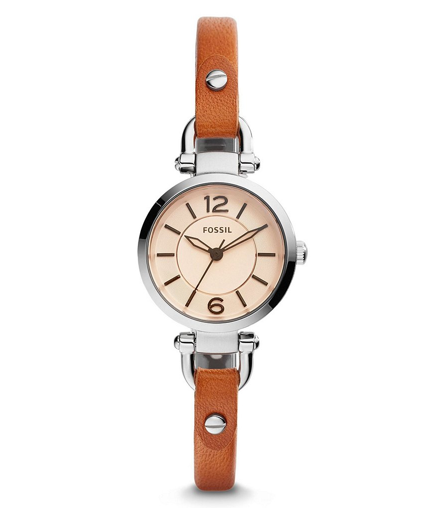 Fossil Georgia Mini Analog Leather-Strap Watch