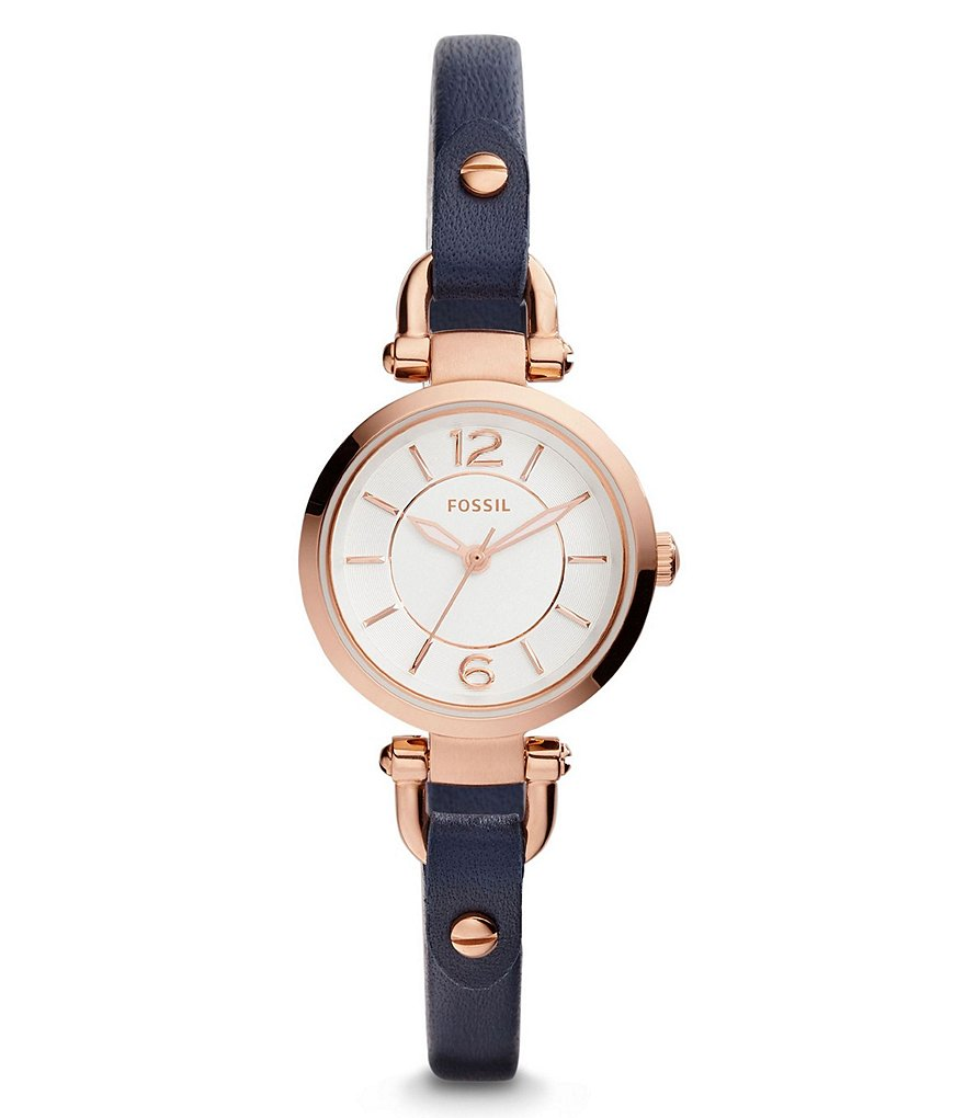 Fossil Georgia Analog Dyed Leather-Strap Watch