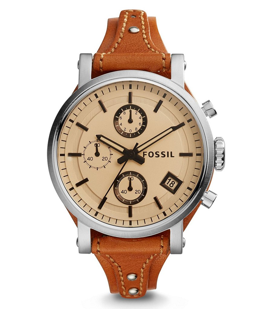 Fossil Original Boyfriend Sport Chronograph & Date Leather-Strap Watch