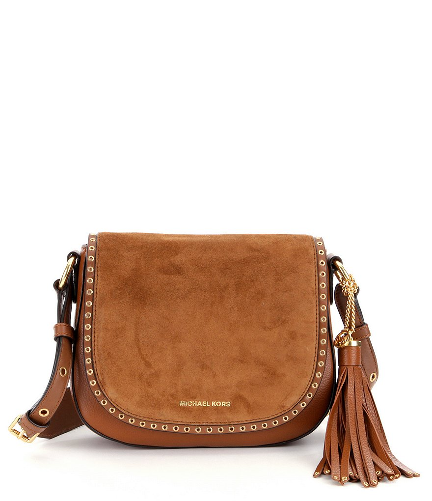 MICHAEL Michael Kors Brooklyn Grommet-Trimmed Tasseled Medium Saddle Bag