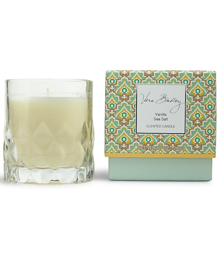 Vera Bradley Vanilla Sea Salt Glass Candle