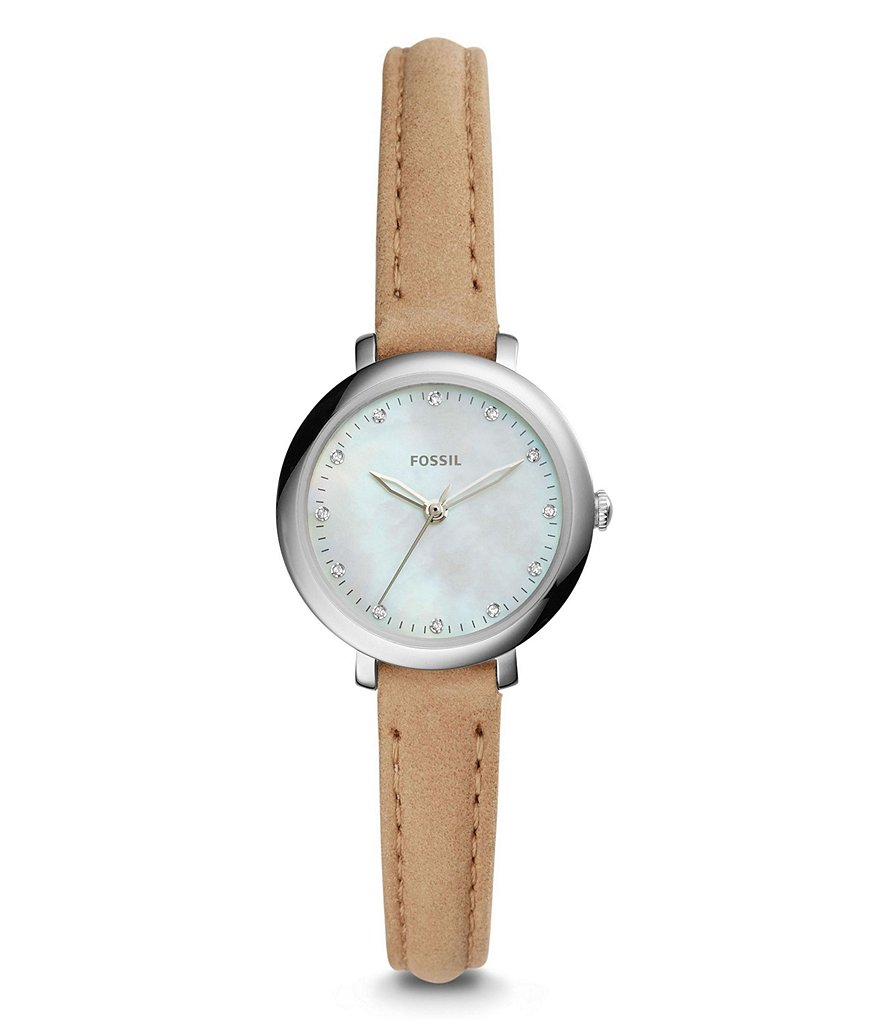 Fossil Jacqueline Mini Analog Leather-Strap Watch