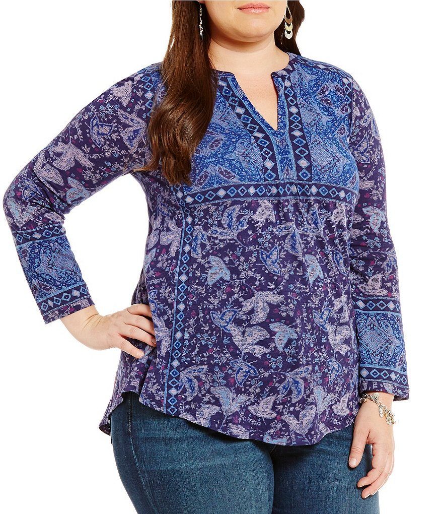 Lucky Brand Plus Border Print Peasant Top