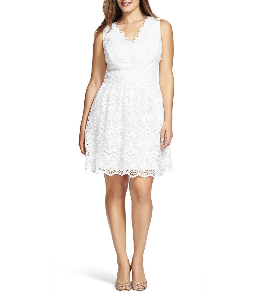 Adrianna Papell Plus V-Neck Lace Dress
