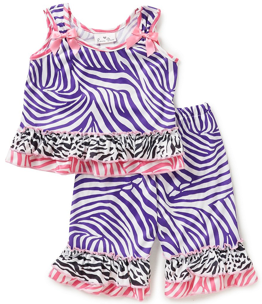 Laura Dare Little Girls 2T-6X Zebra Sleepwear Top and Pants Set