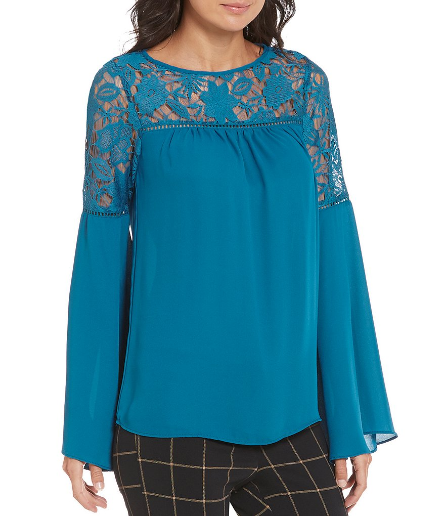 Soulmates Lace-Accented Bell-Sleeve Blouse