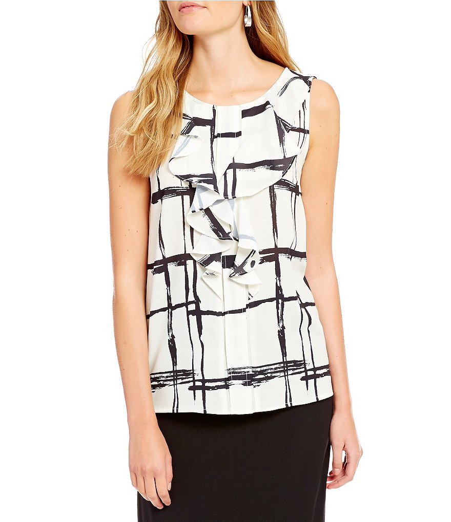 Alex Marie Orlagh Ruffle Printed Sleeveless Blouse
