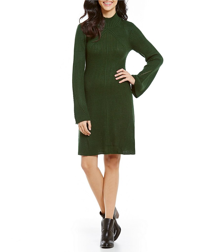 Sequin Hearts Ribbed Mock Neck Bell-Sleeve Sweater Dress