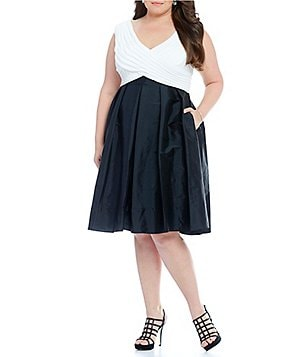 Adrianna Papell Plus Two-Tone Taffeta Fit-and-Flare Dress