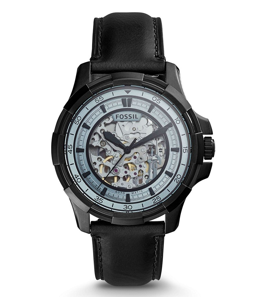 Fossil Dean Automatic Leather-Strap Watch