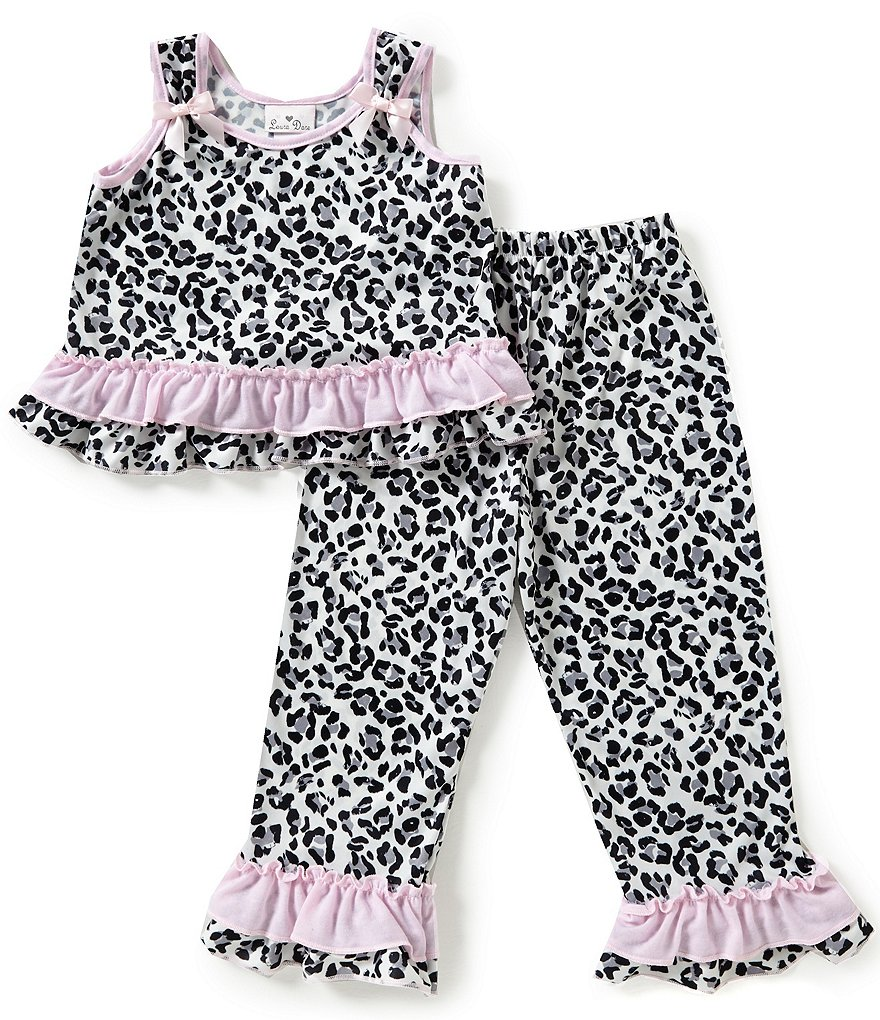 Laura Dare Little Girls 2T-6X Cheetah-Printed Ruffle Bow Pajama Set
