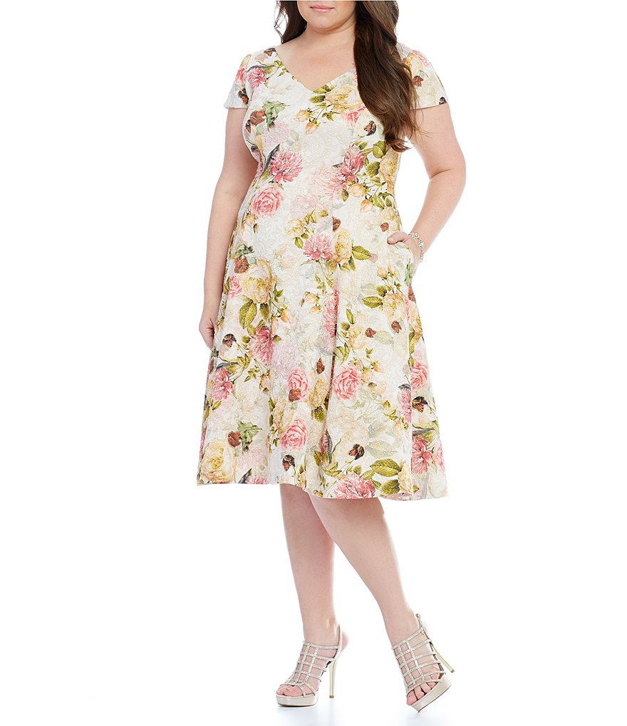 Adrianna Papell Plus Floral Matelassé Fit-and-Flare Dress