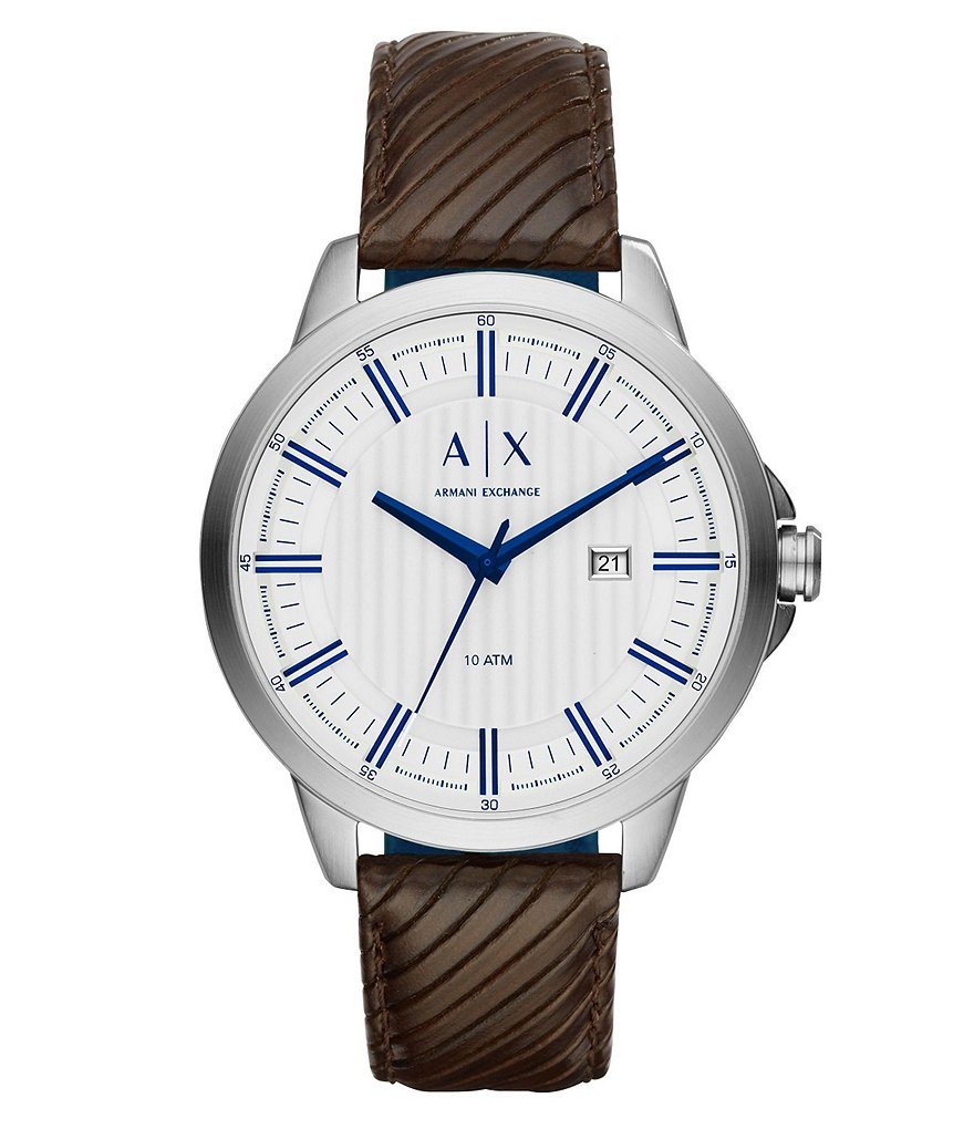 AX Armani Exchange Copeland Analog & Date Leather-Strap Watch