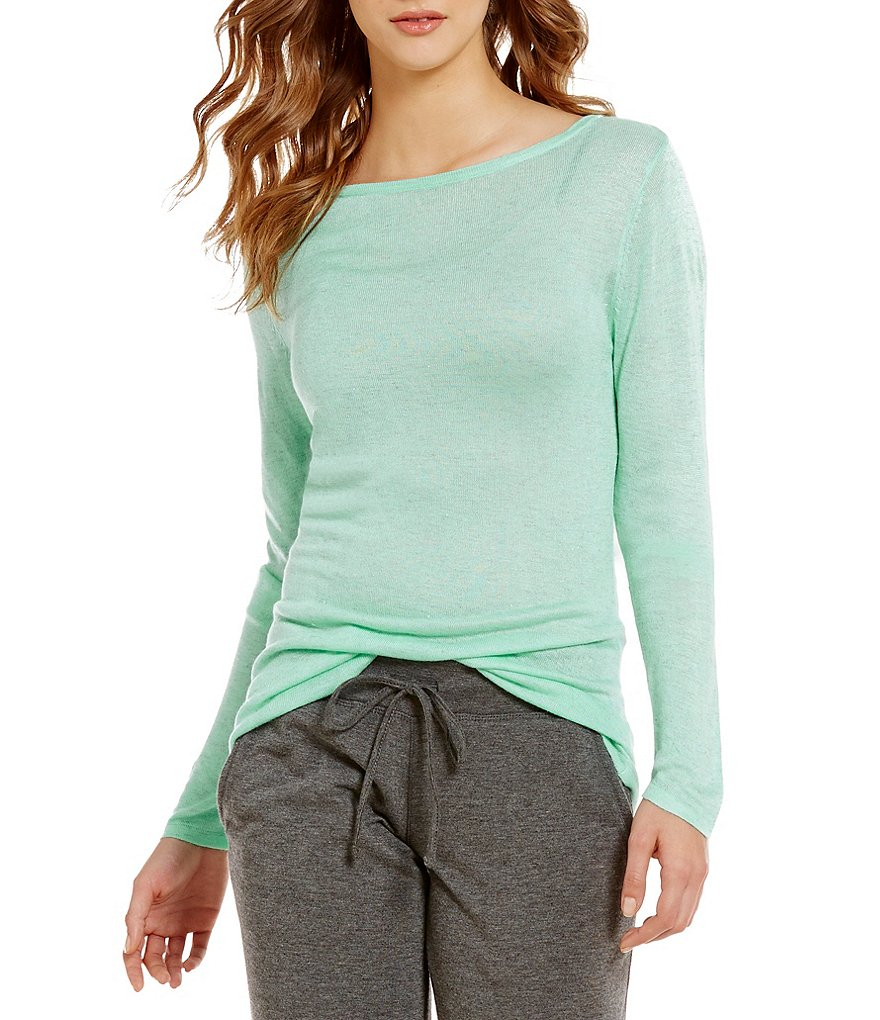 Jasmine & Ginger Angeline Metallic Sweater-Knit Lounge Top
