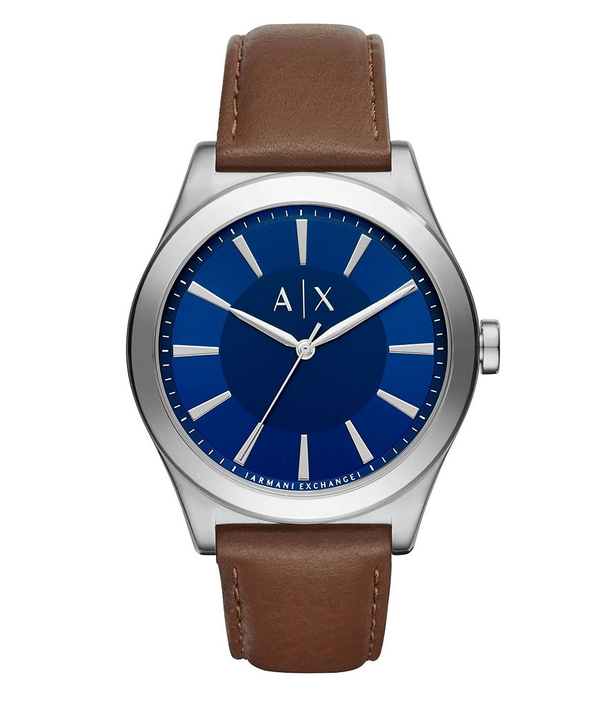 AX Armani Exchange Nico Analog Leather-Strap Watch