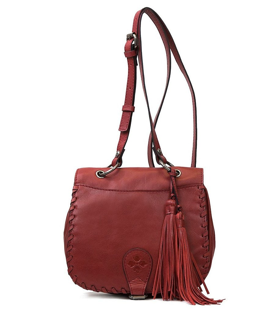 Patricia Nash Soft Italian Leather Collection Karisa Tasseled Small Saddle Bag