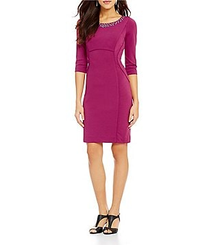 Alex Marie Zooey Embellished Neck 3/4 Sleeve Solid Ponte Dress