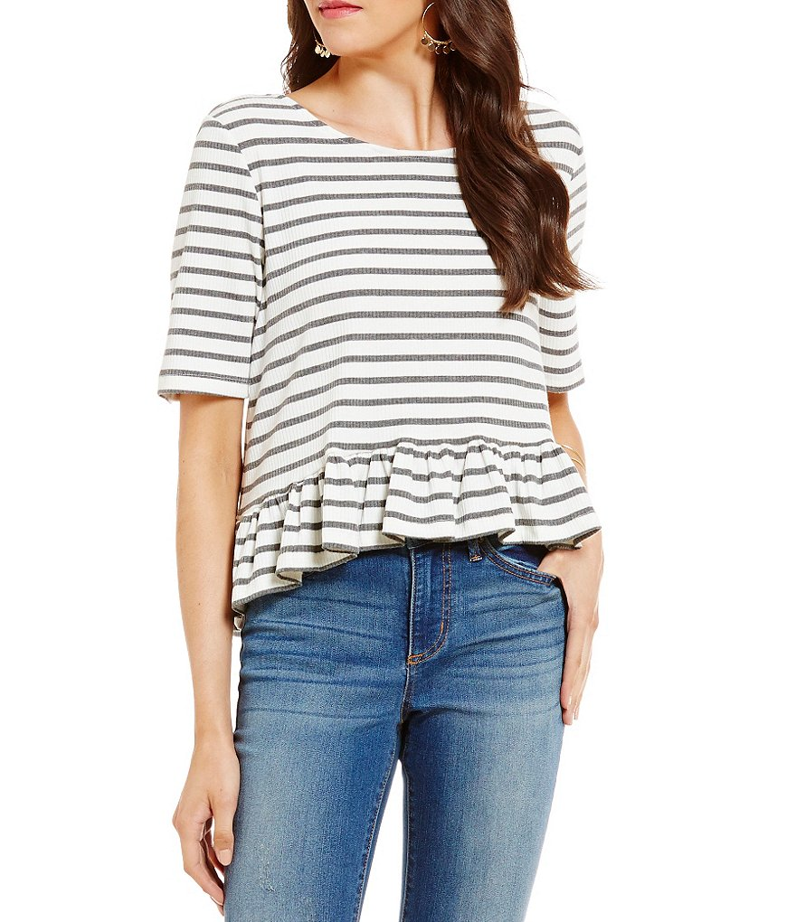 Copper Key Striped Bar Back Ruffle Tee